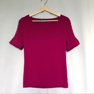 Cable and gauge plum ribbed knit shirt